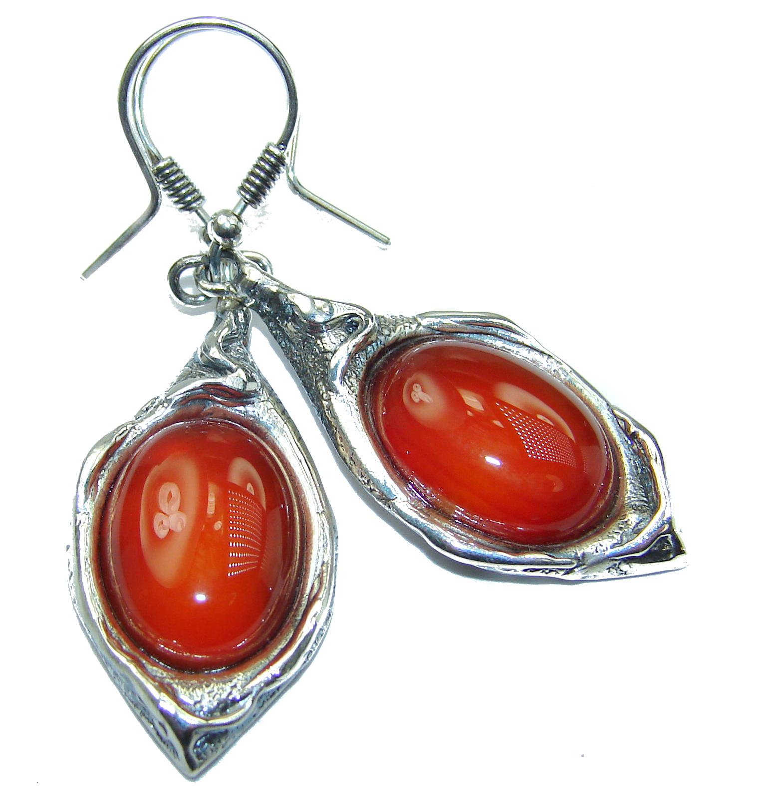 Sublime Orange Carnelian .925 Sterling Silver handmade earrings