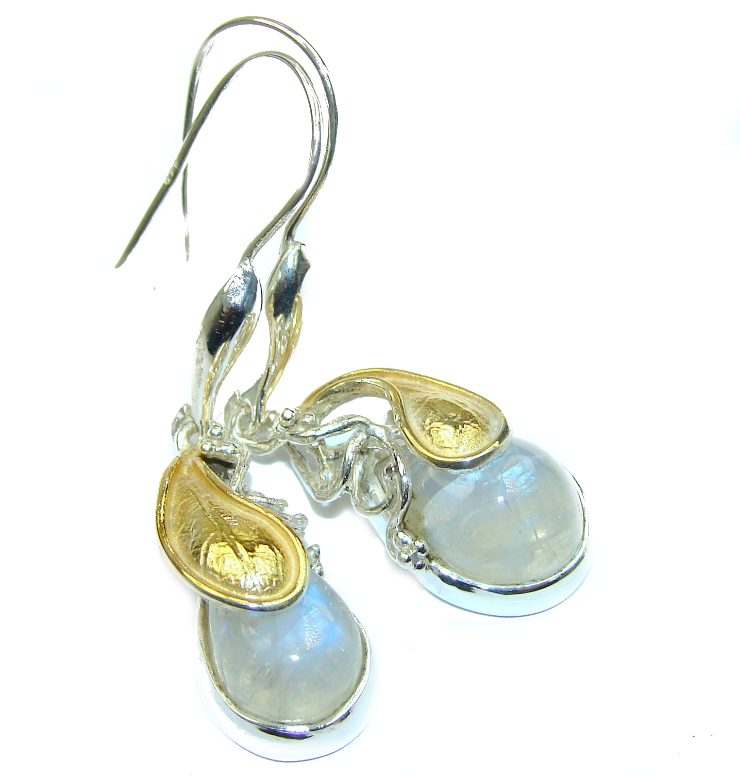 Genuine Fire Moonstone 14K Gold over .925 Sterling Silver handcrafted Earrings