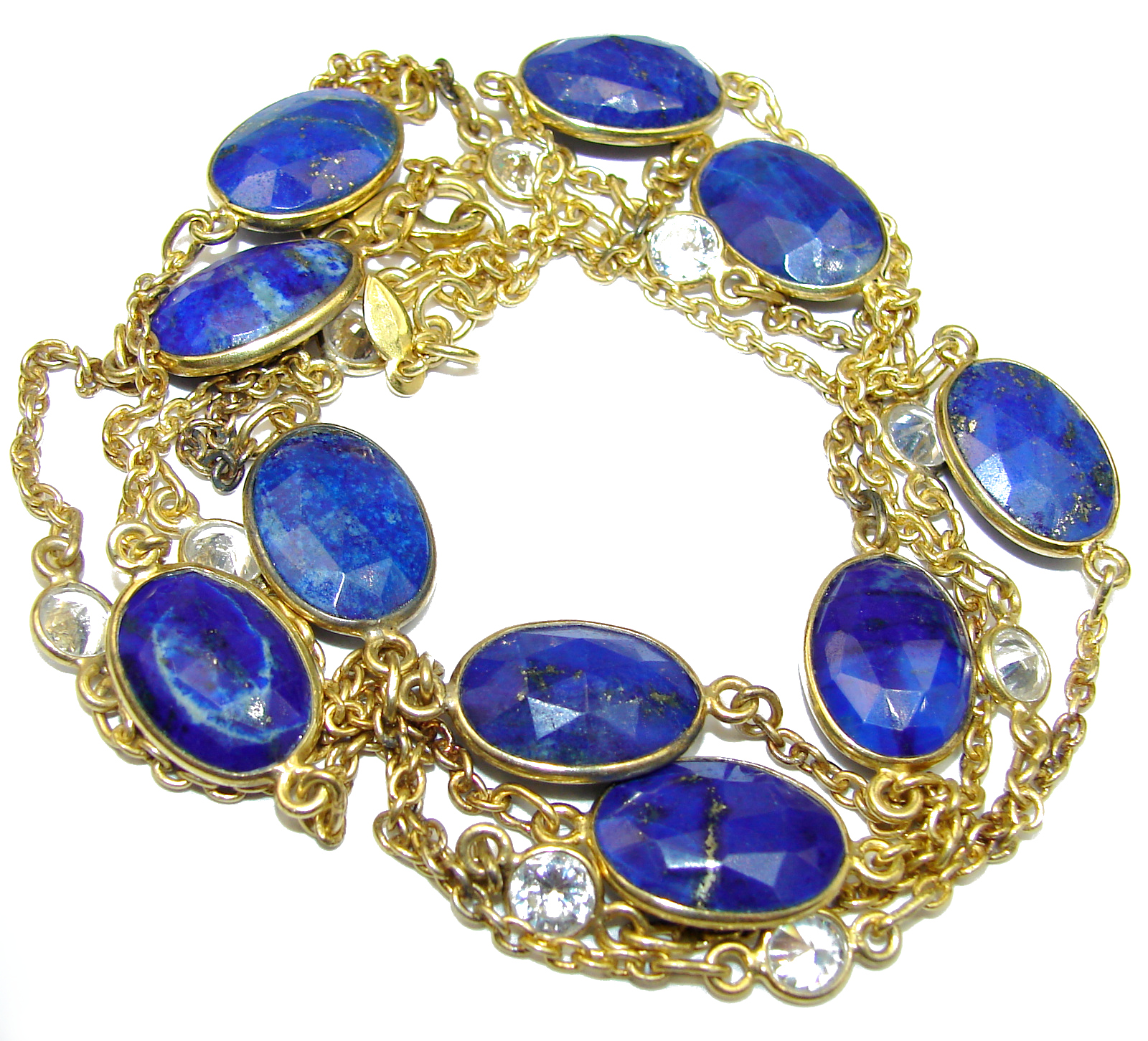 d5986ca8f 36 inches genuine Lapis Lazuli 14K Gold over .925 Sterling Silver Station  Necklace
