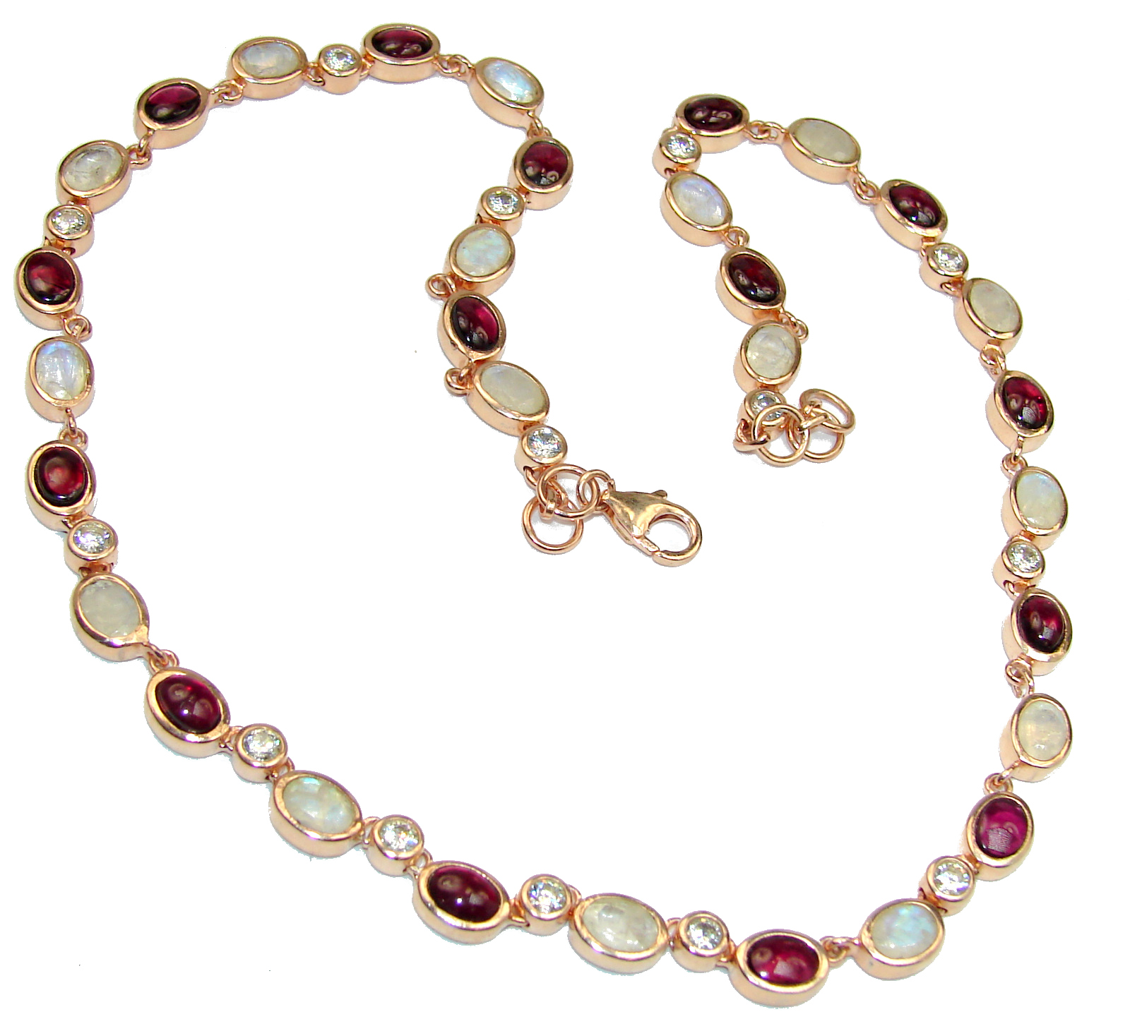 Great Masterpiece genuine Moonstone 14K Gold over .925 Sterling Silver handmade necklace