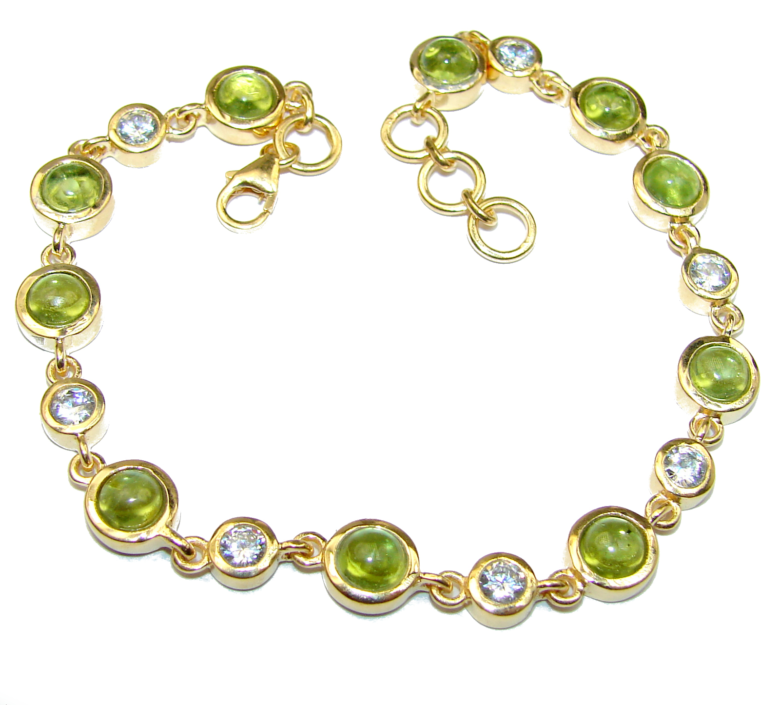 Authentic Peridot White Topaz 14K Gold over .925 Sterling Silver handmade Bracelet