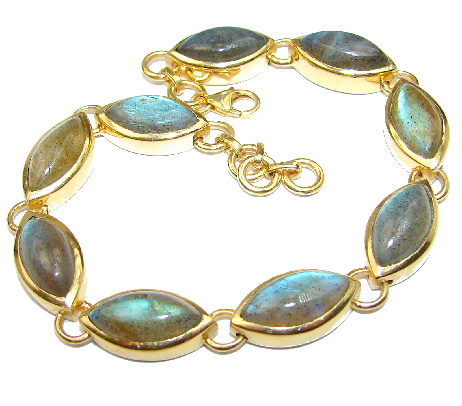 New Galaxy Fire Labradorite 14K Gold over .925 Sterling Silver handmade Bracelet