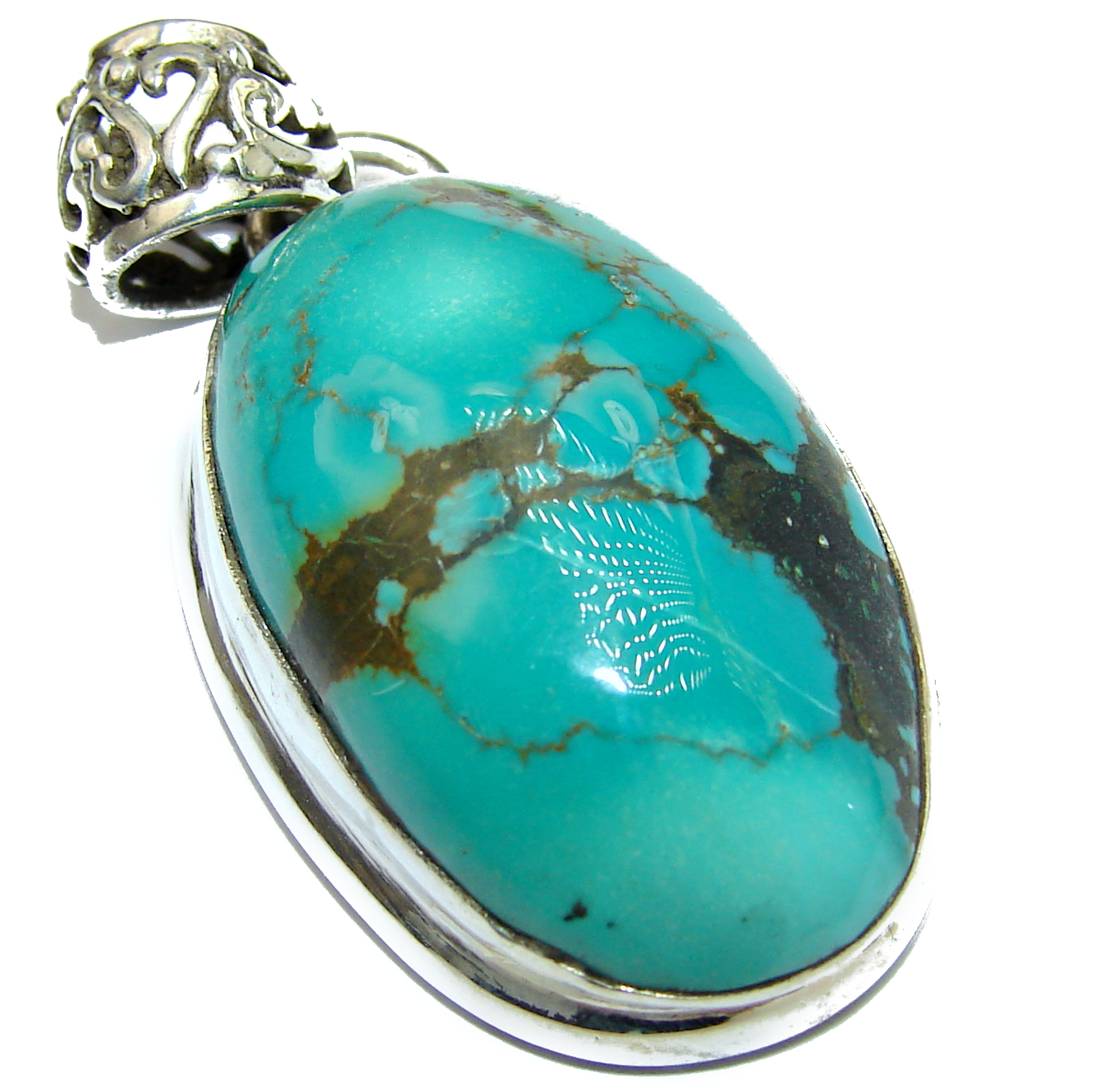 Huge Exquisite authentic Morenci Turquoise .925 Sterling Silver handmade Pendant