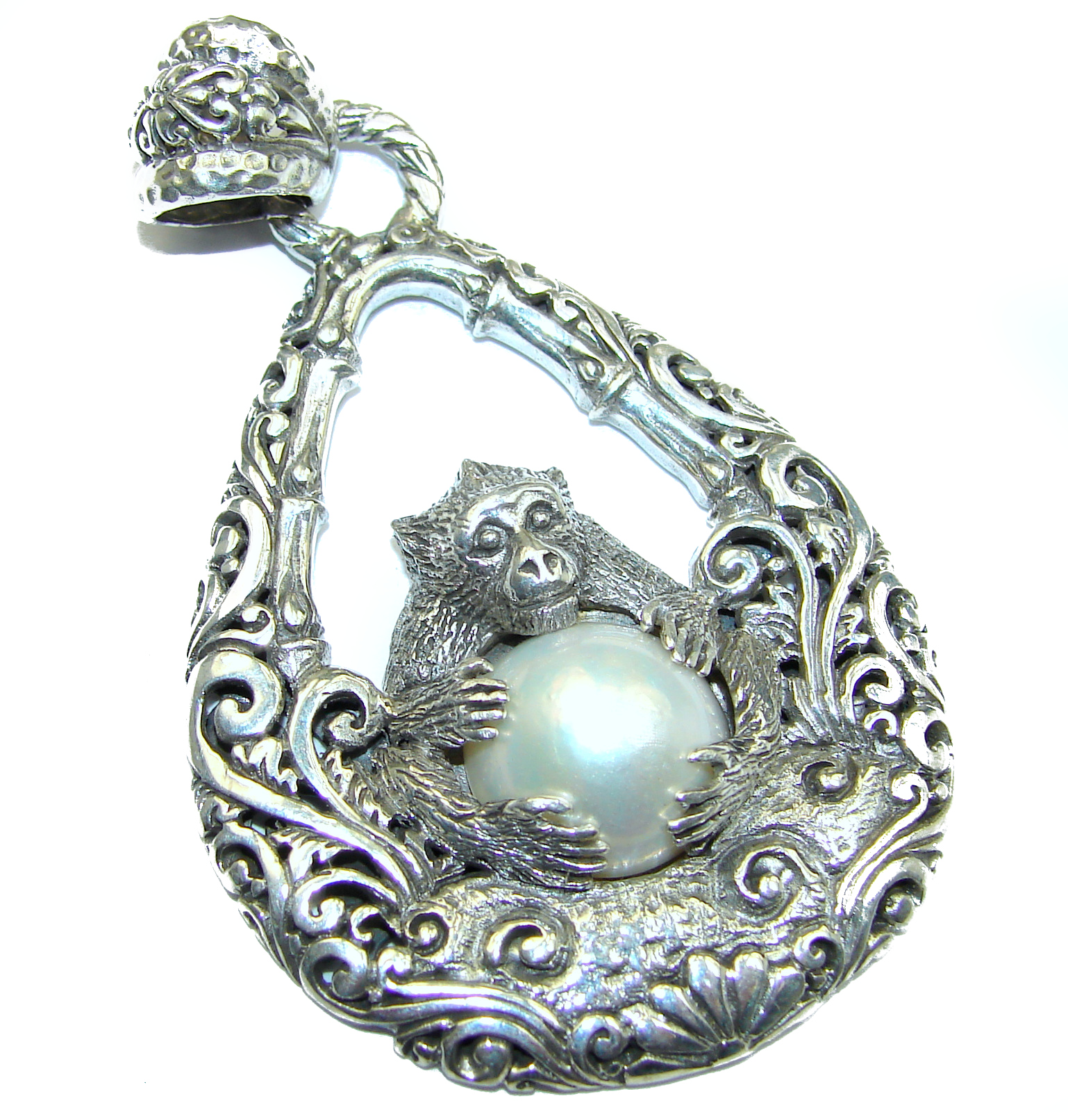 Prosperity and Fortune Monkey holding a white Pearl .925 Sterling Silver pendant