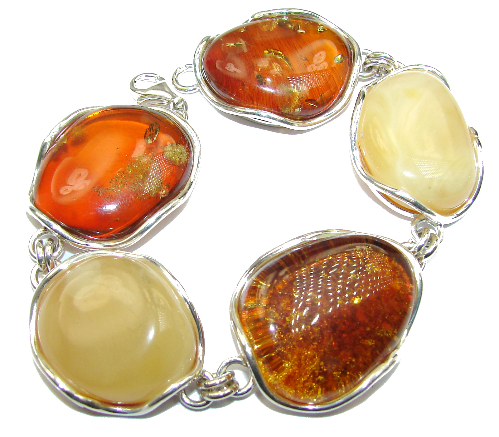 Beautiful Butterscotch AAA Baltic Polish Amber .925 Sterling Silver handcraf..