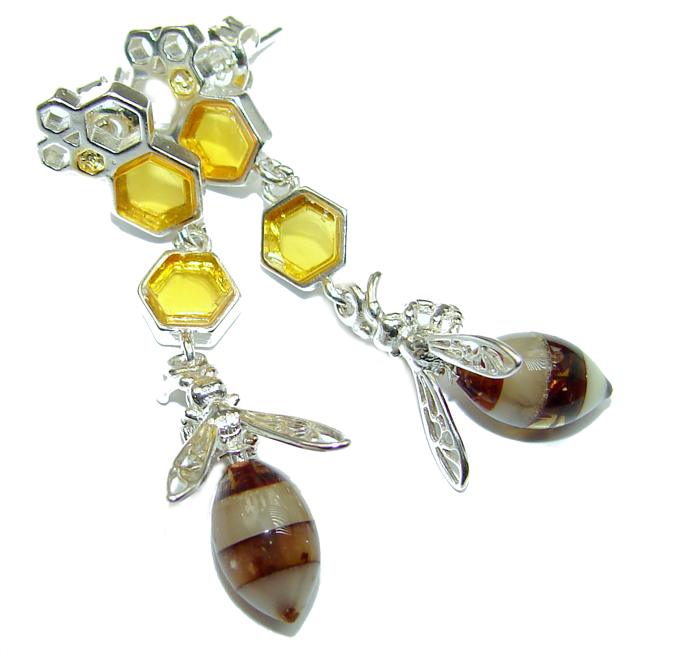 Wonderful Bees  Baltic Mosaic  Amber .925 Sterling Silver entirely handcrafted earrings
