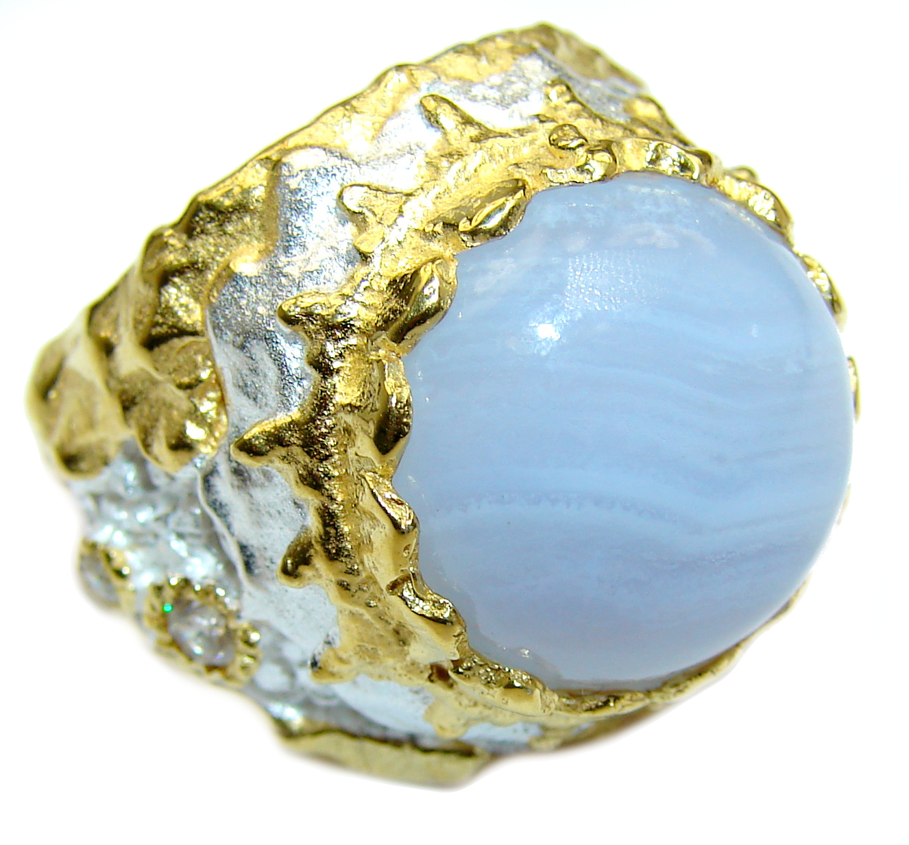 Blue Chalcedony Agate 14K Gold over .925 Sterling Silver handcrafted Ring s. 9