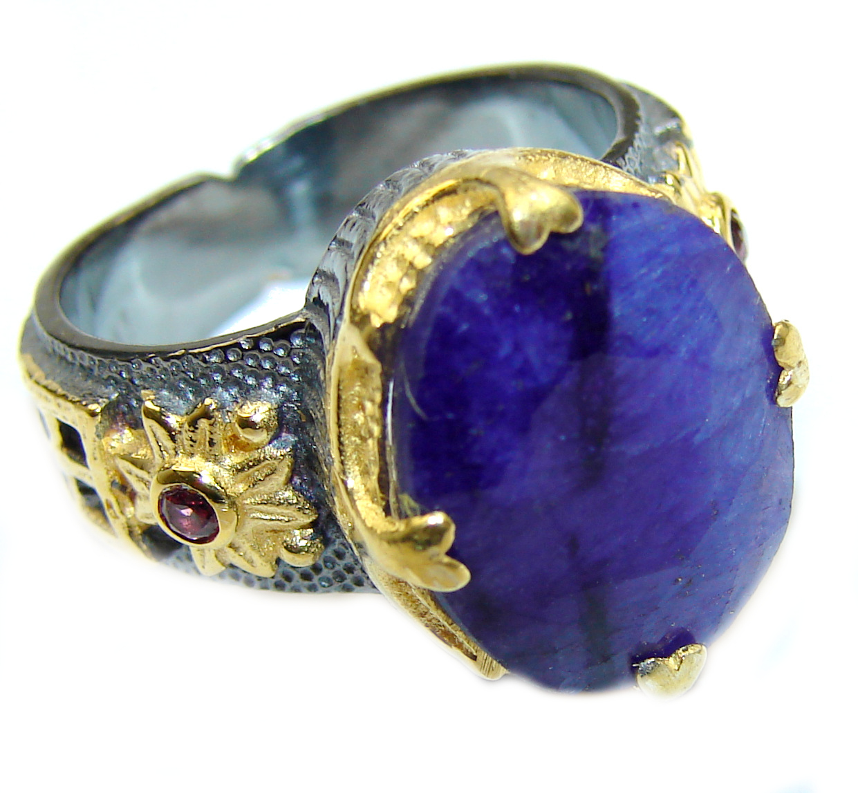Vintage Style Sapphire 14K Gold oval & White Topaz Sterling Silver handcrafted ring; s. 8