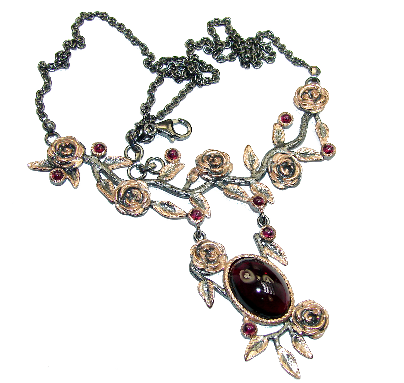 Floral Design Genuine Garnet 14K Gold over .925 Sterling Silver handmade necklace