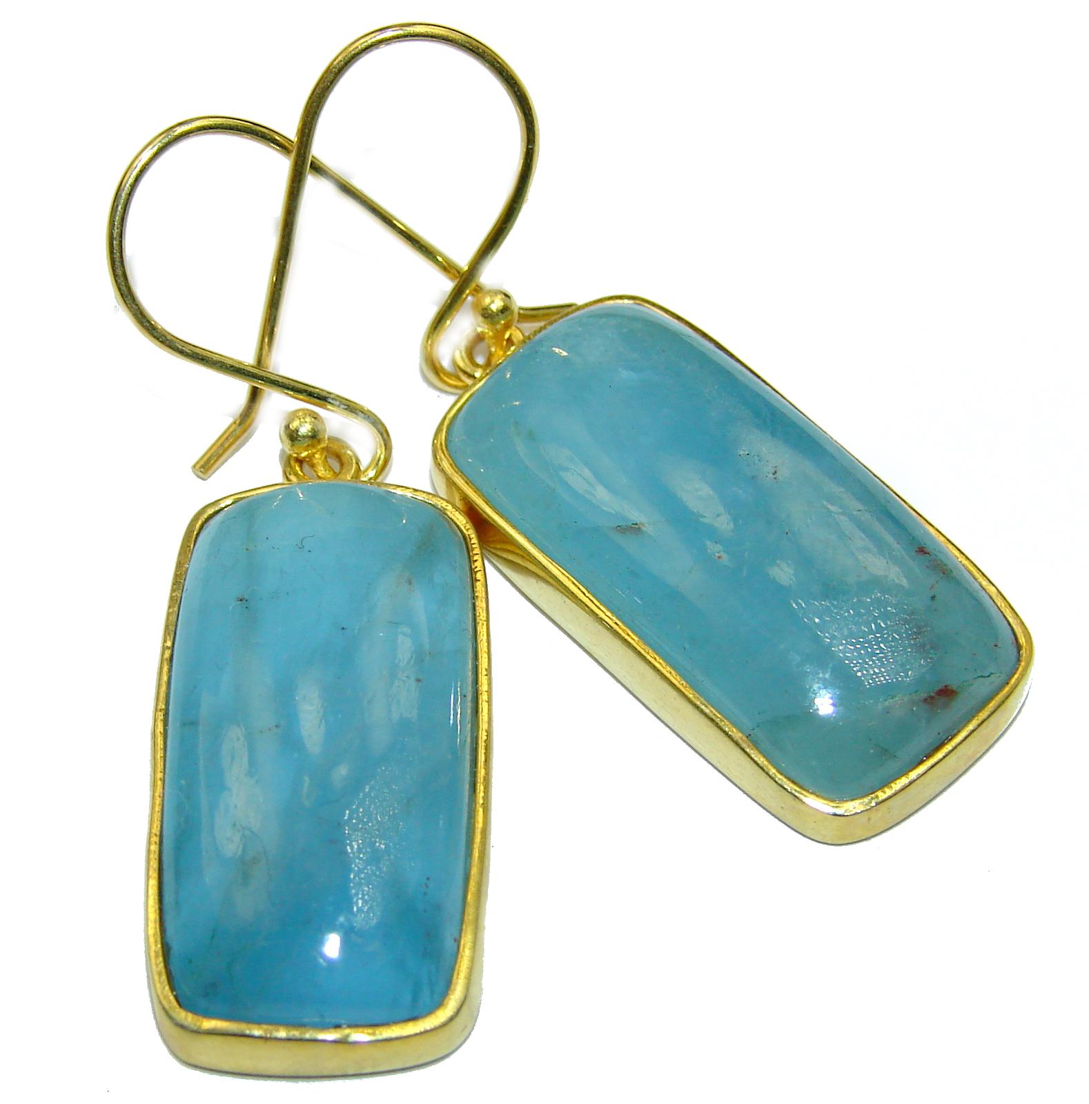 Simple Style genuine Aquamarine .925 Sterling Silver handmade earrings