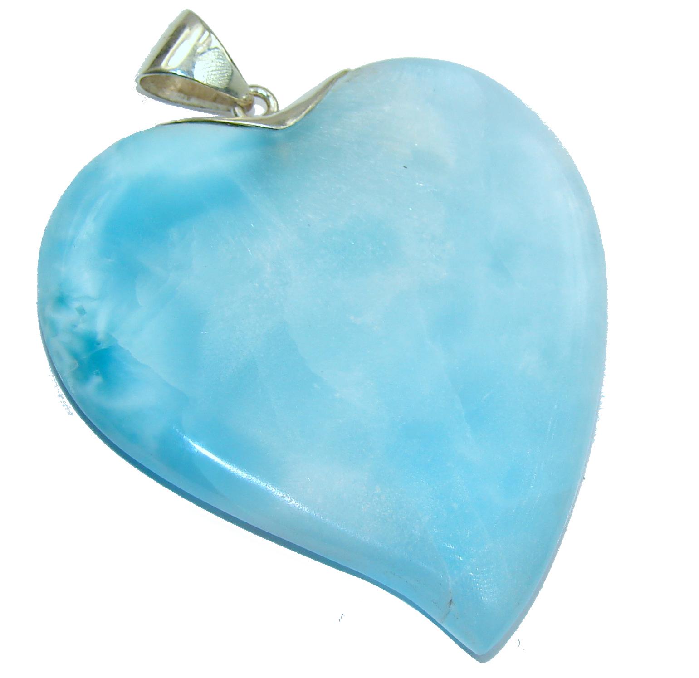 Huge Angel's Heart amazing quality Larimar .925 Sterling Silver handmade pendant