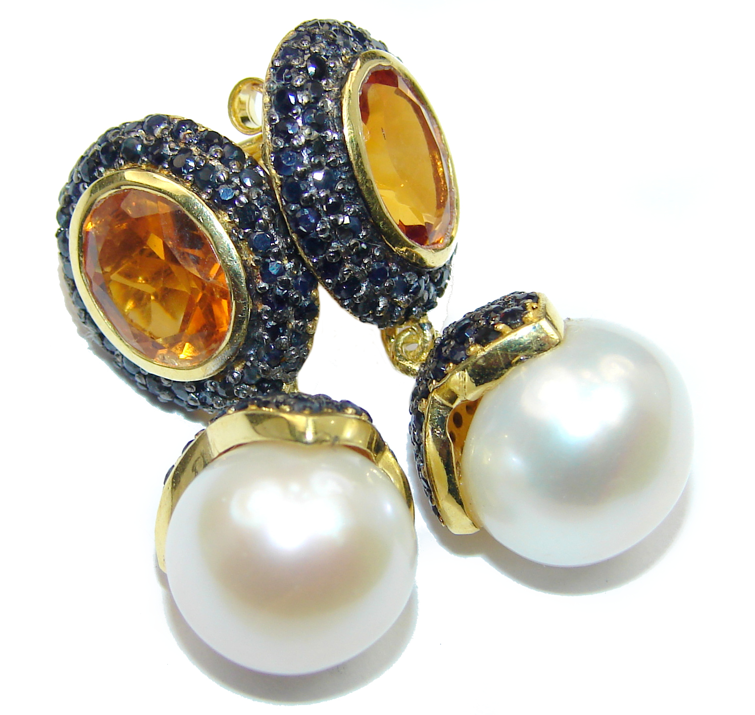 Precious genuine Natural Pearl 14K Gold over .925 Sterling Silver handmade earrings