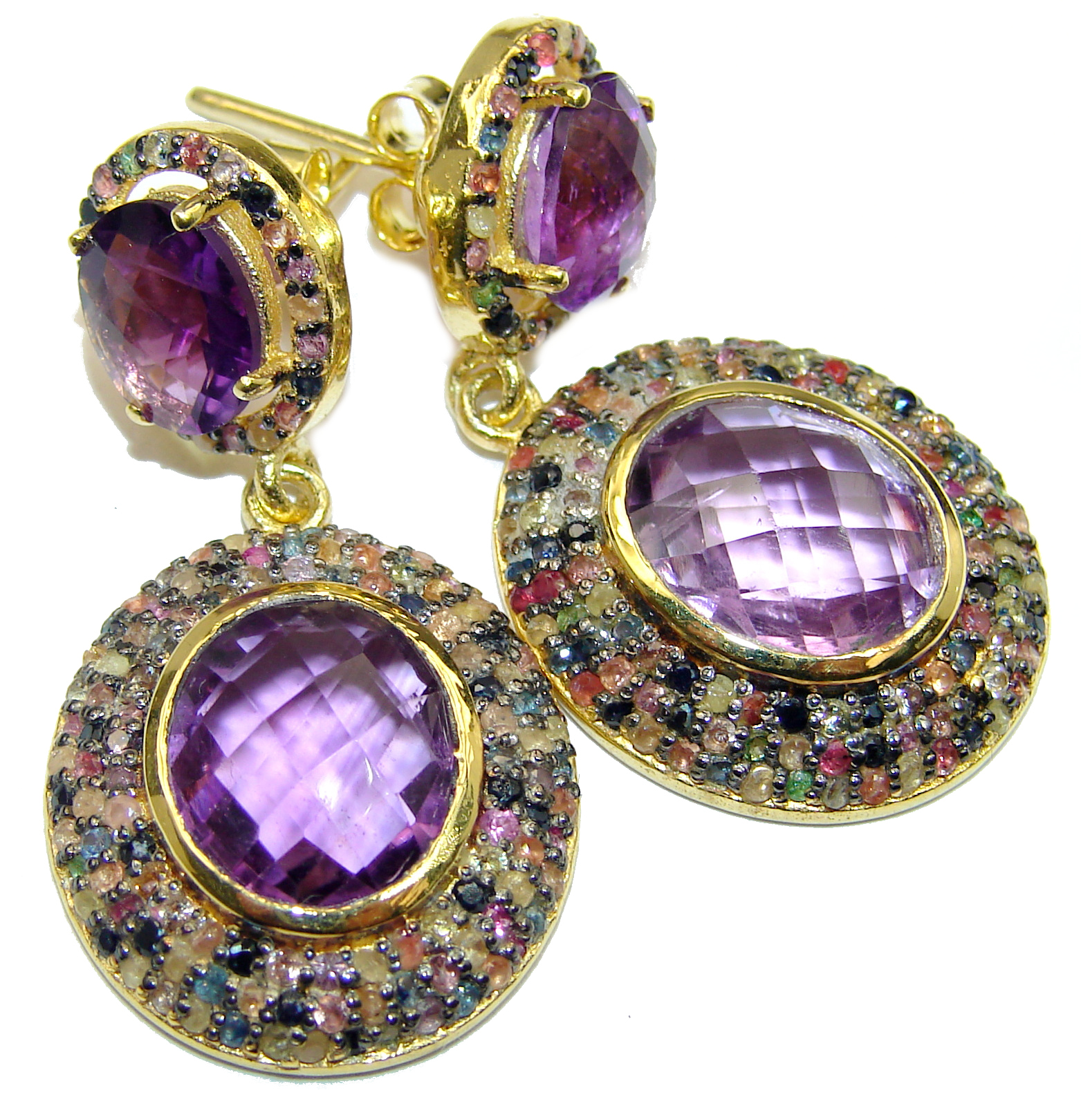 Precious genuine Natural Amethyst 14K Gold over .925 Sterling Silver handmade earrings