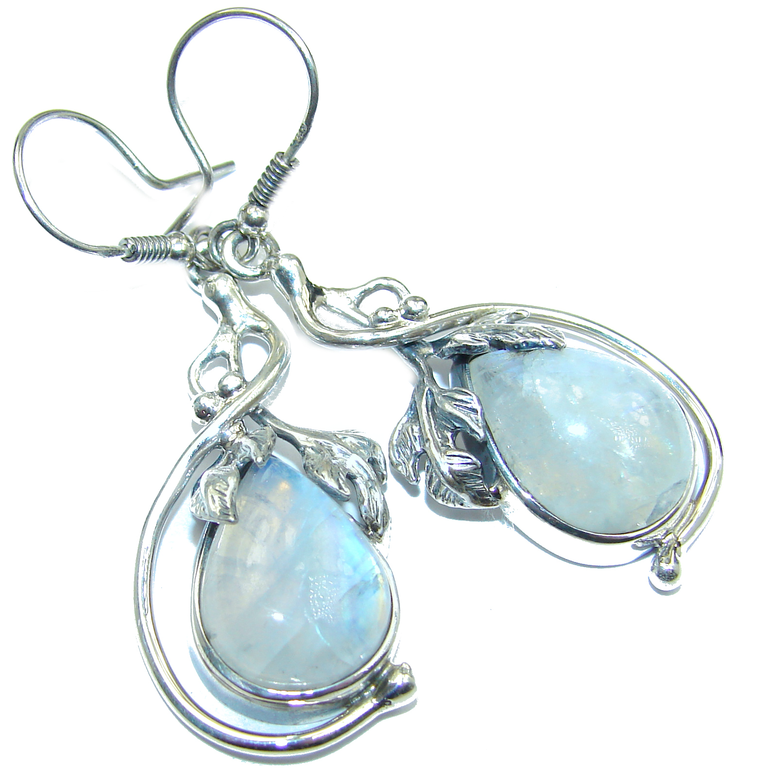 Floral Design Genuine Fire Moonstone .925 Sterling Silver handcrafted Earrings