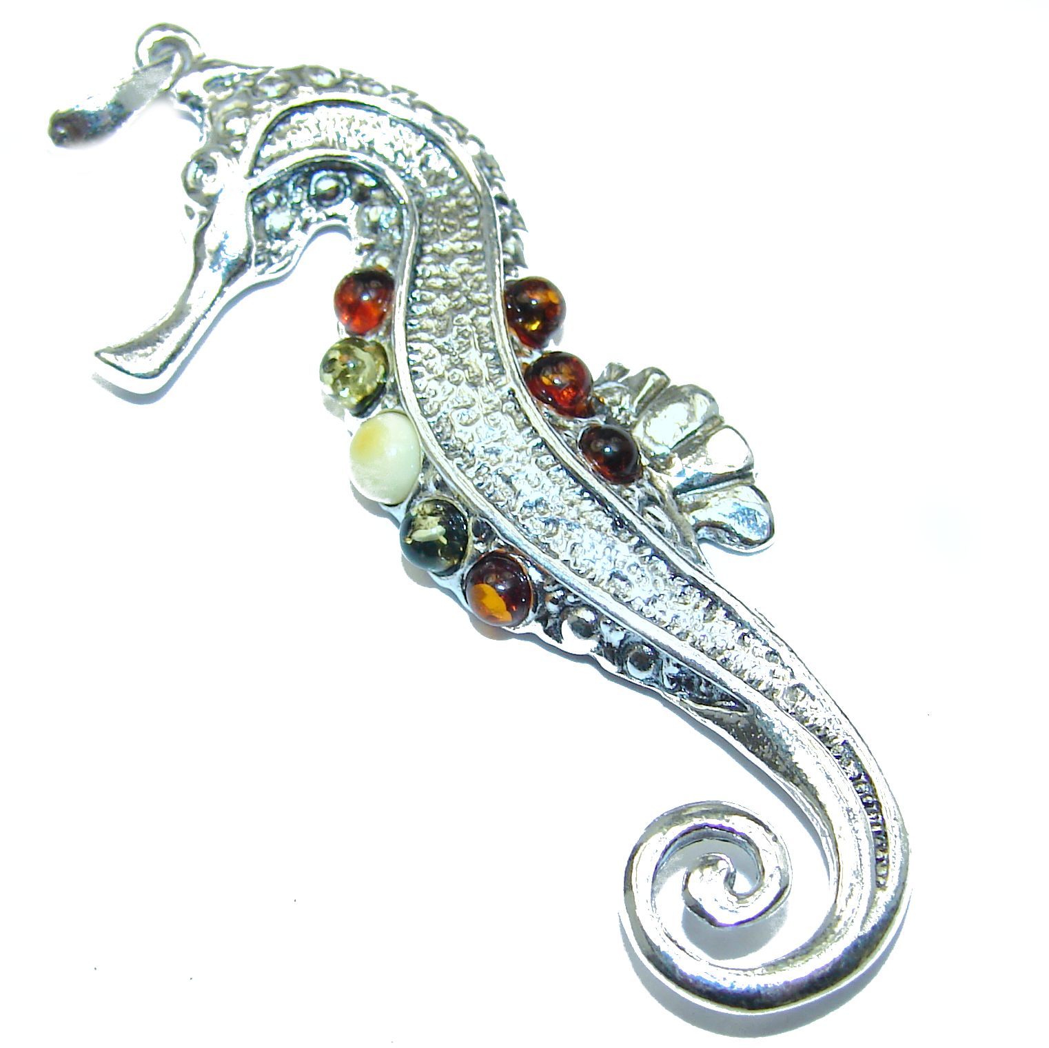 Sea Horse Baltic Amber .925 Sterling Silver handmade Pendant
