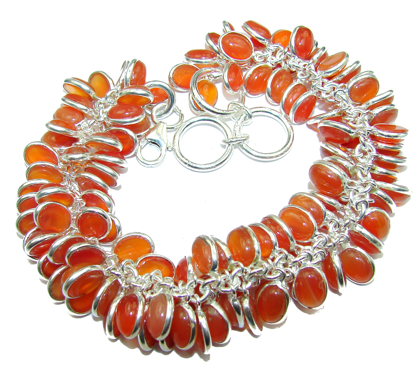 Genuine Carnelian Agate .925 Sterling Silver handcrafted CHA- CHA Bracelet