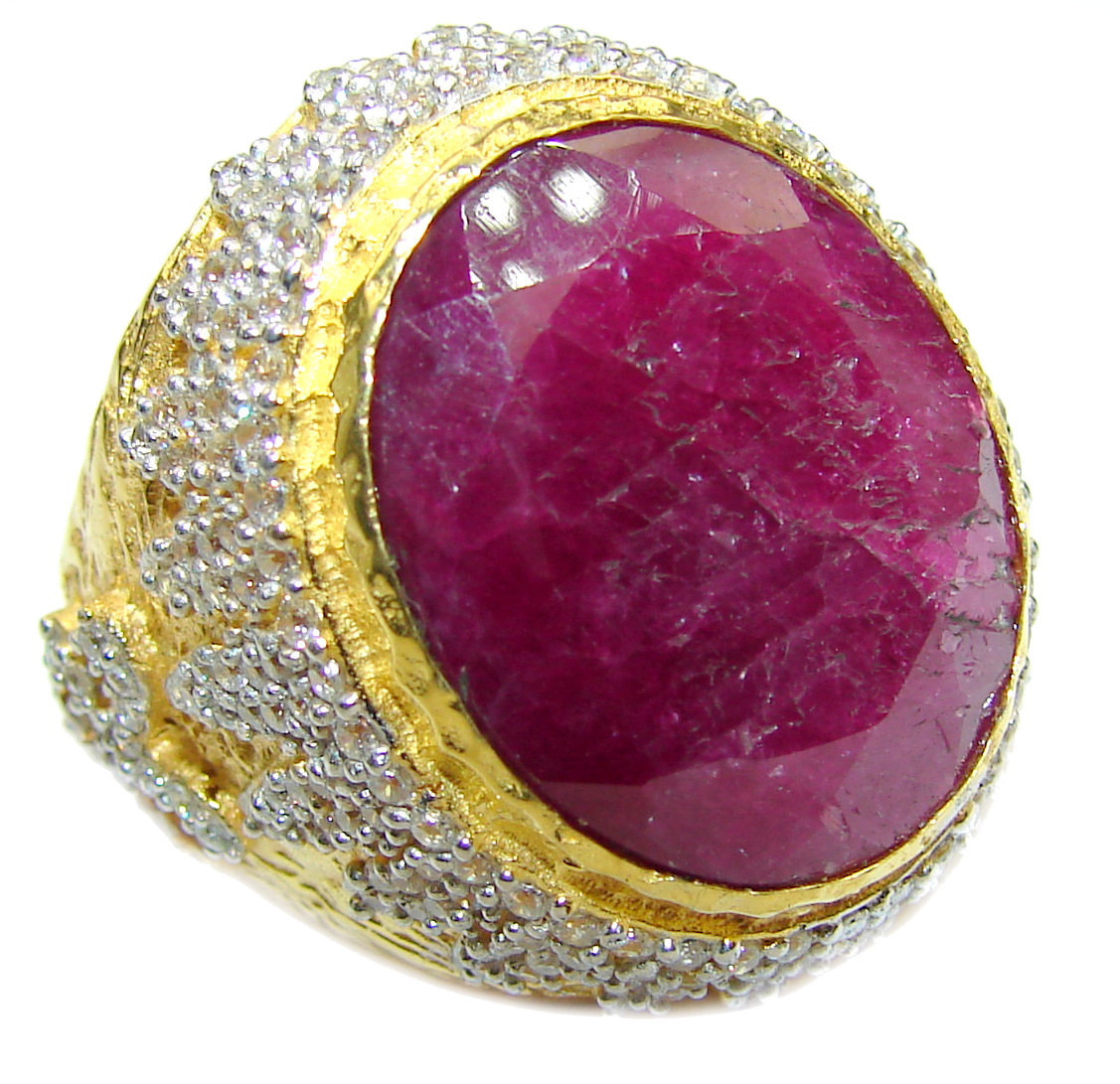 Large genuine Ruby 14K Gold over .925 Sterling Silver Statement Italy made ring; s. 9
