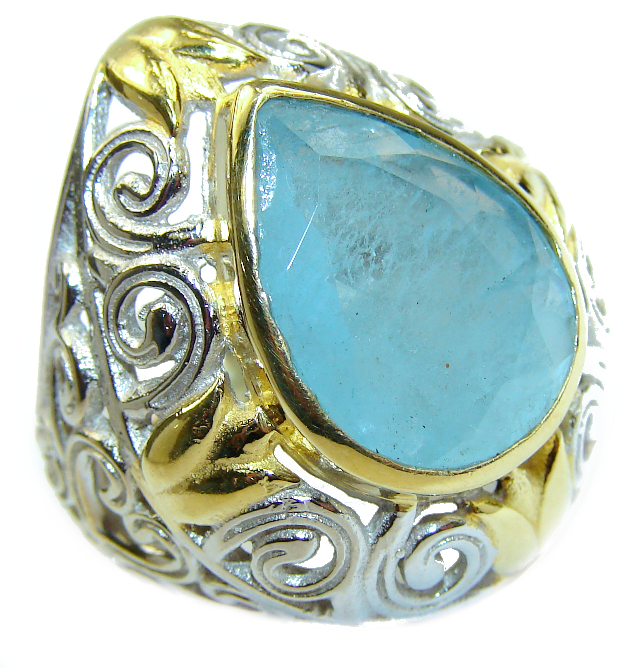 Spectacular genuine Aquamarine 14K Gold over .925 Sterling Silver handmade ring s. 7 1/4