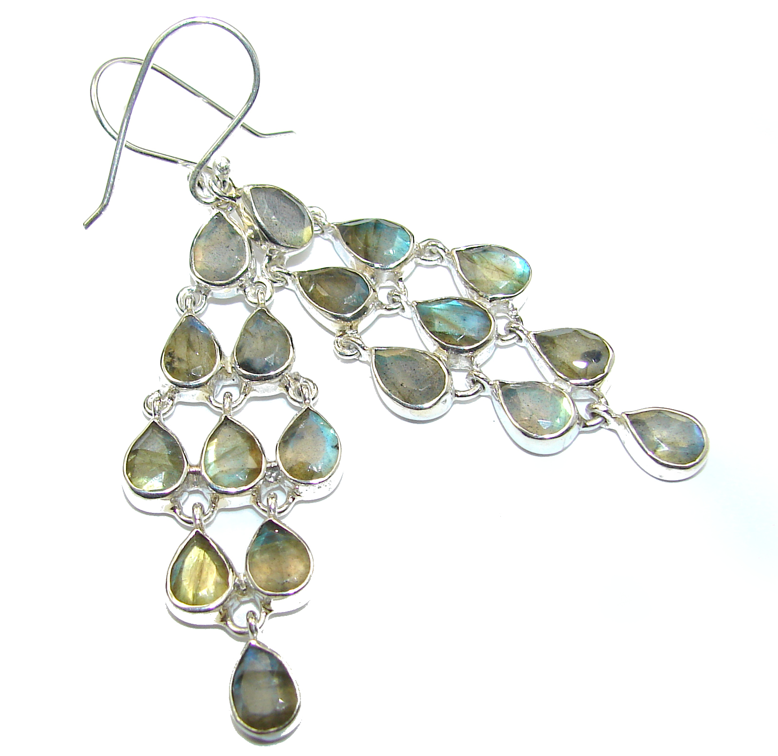 Perfect Fire Labradorite .925 Sterling Silver handmade earrings