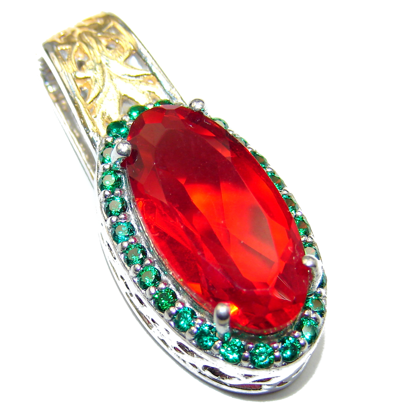 Volcanic Red Helenite .925 Sterling Silver handcrafted Pendant