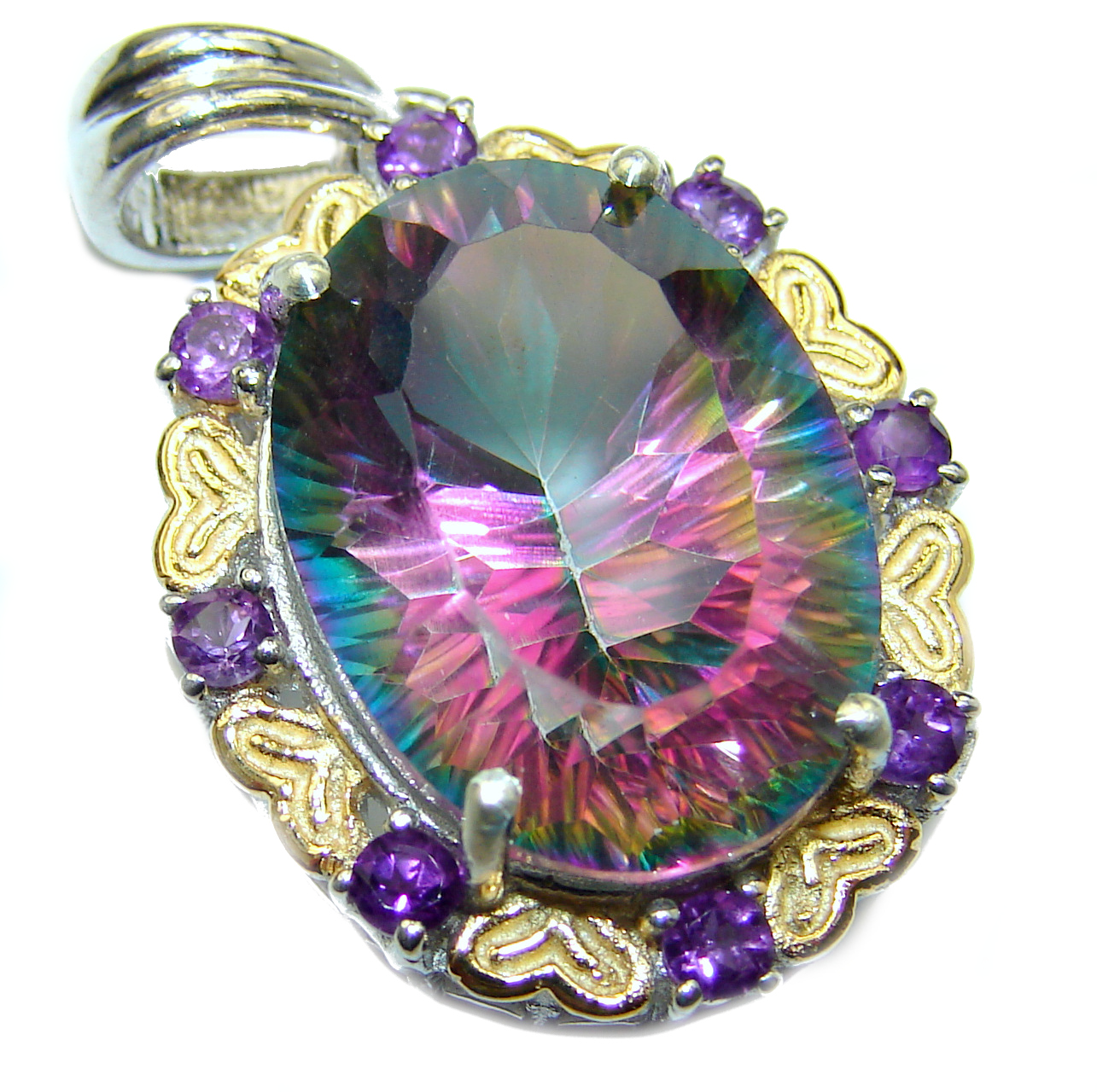 Spectacular Magic Topaz two tones .925 Sterling Silver handcrafted Pendant