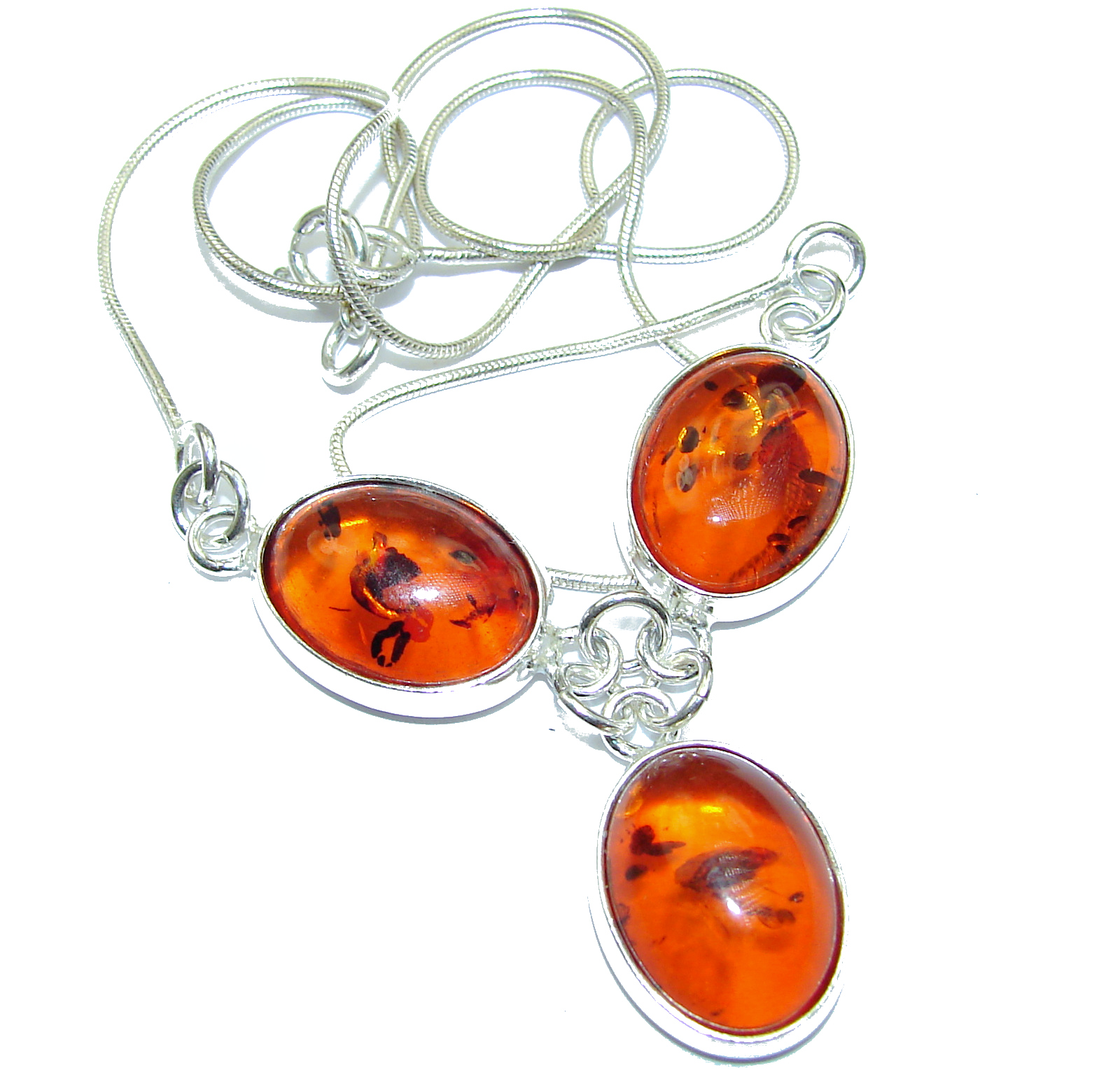 Natural Beauty Baltic Amber .925 Sterling Silver handmade necklace
