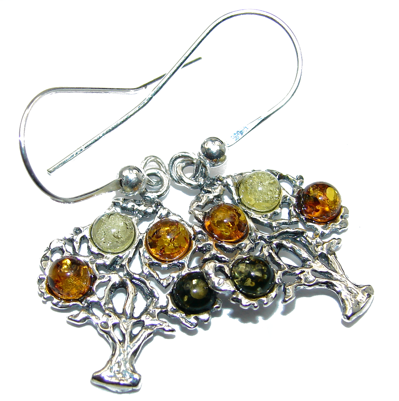 Gorgeous Polish Baltic  Amber  .925 Sterling Silver entirely handcrafted ear..