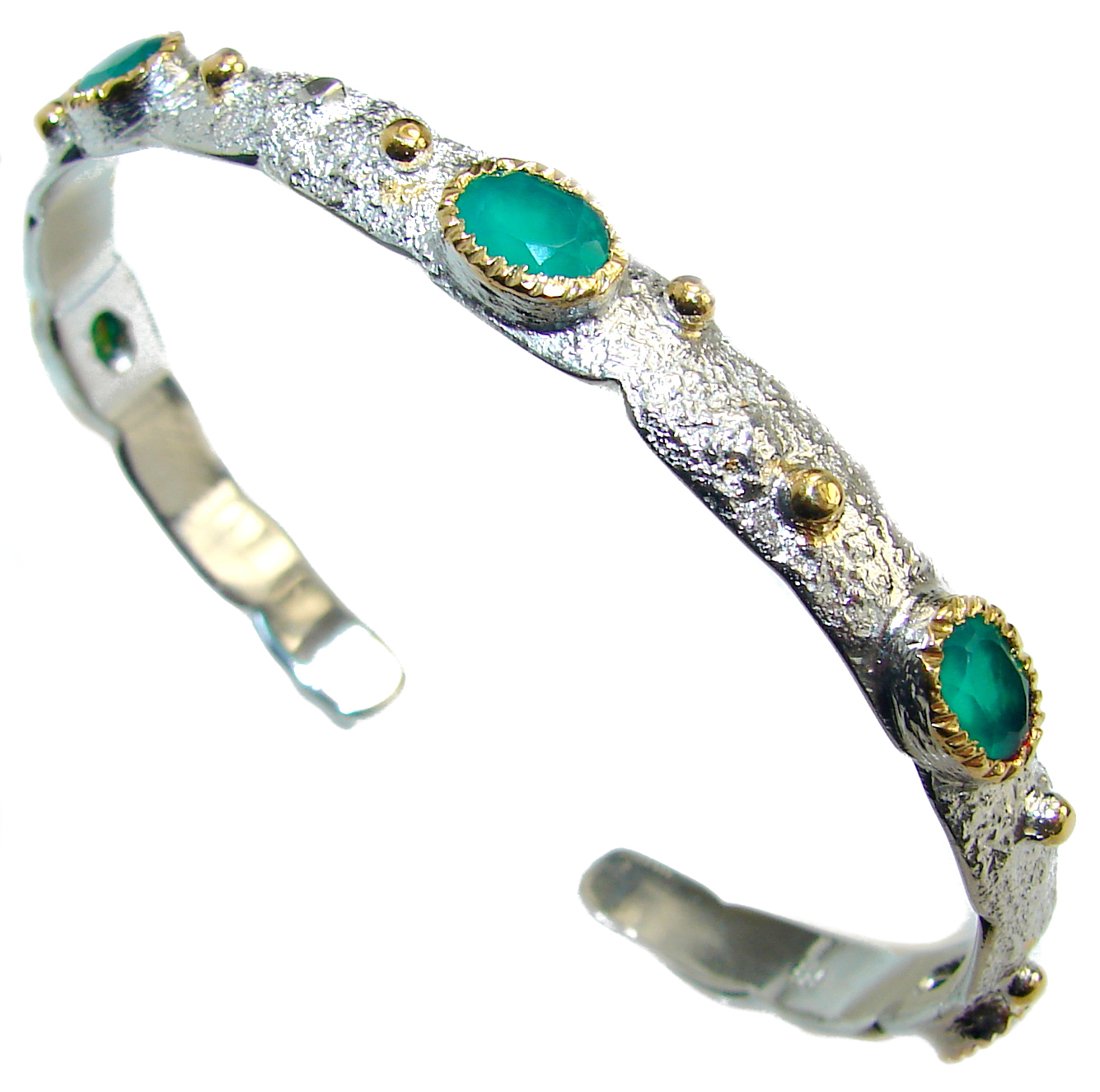 Emerald 14k Gold over .925 Sterling Silver handcrafted Bracelet