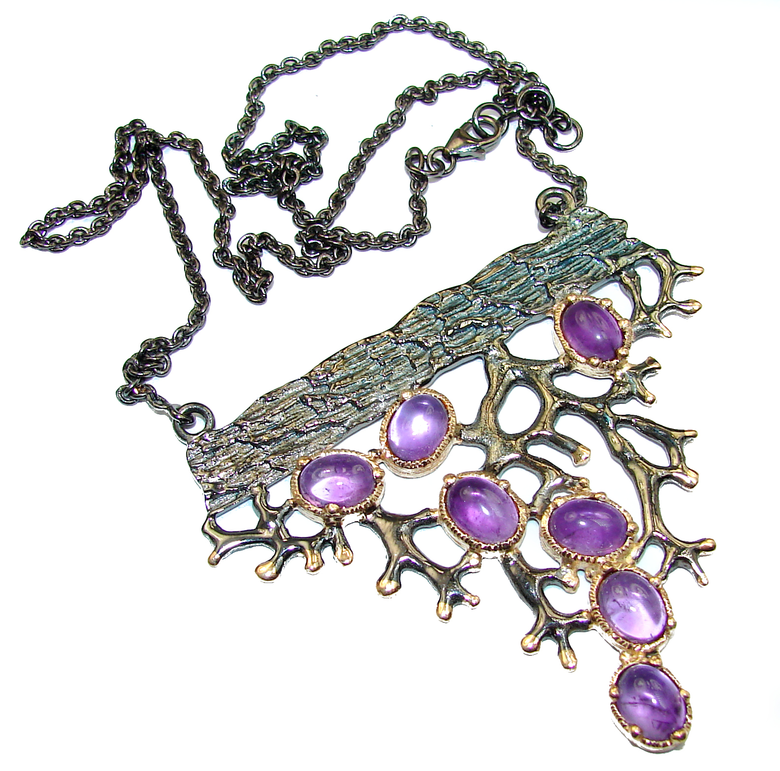 Artisan creation genuine Amethyst two tones .925 Silver handcrafted Necklace