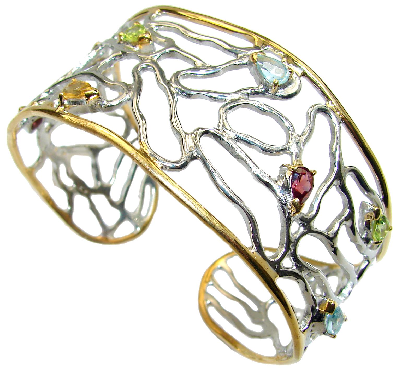 One of the kind genuine Multigem 14K Gold over .925 Sterling Silver Bracelet / Cuff