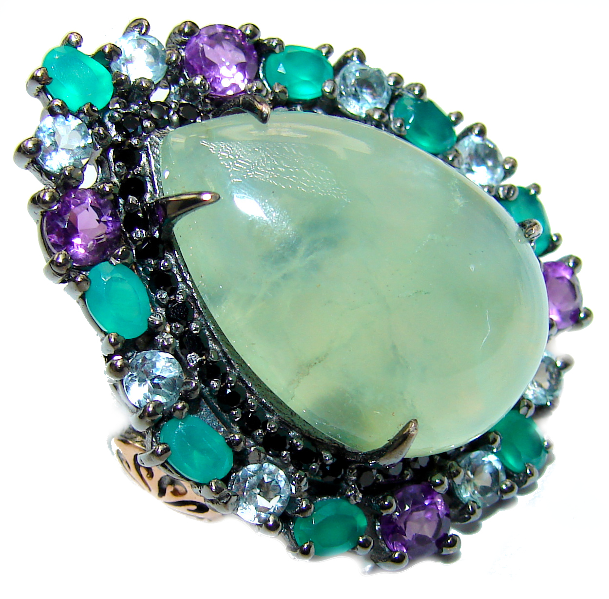 Natural Prehnite Emerald Black Rhodium over .925 Sterling Silver handcrafted Ring s. 8 1/4
