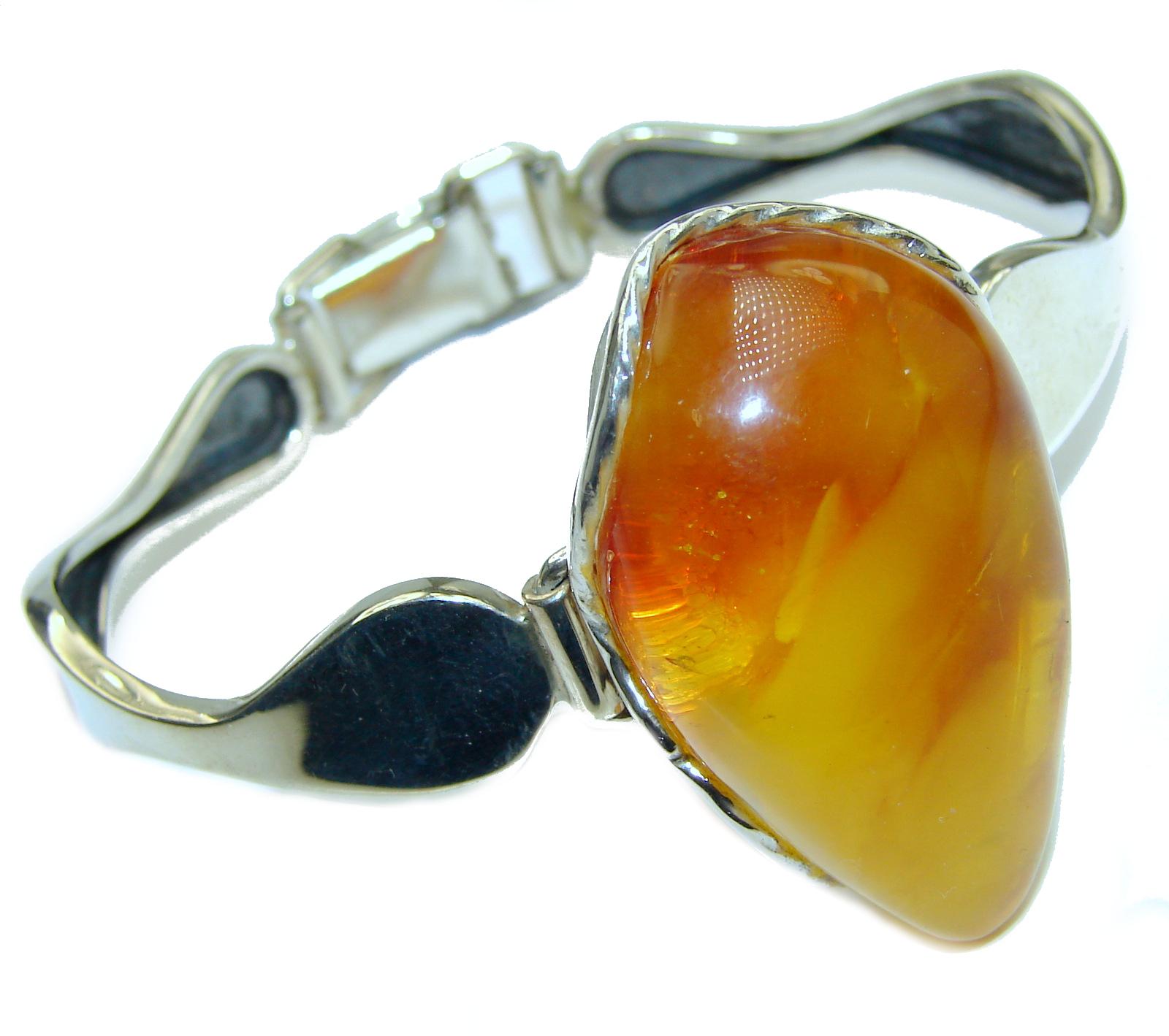 Vintage Design  Genuine Baltic Amber .925 Sterling Silver handamde Bracelet
