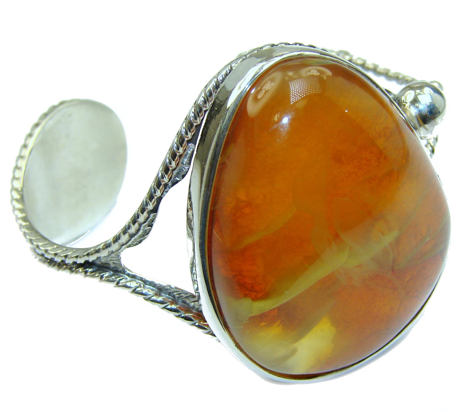 Vintage Design  Genuine Baltic Amber .925 Sterling Silver handamde Bracelet ..