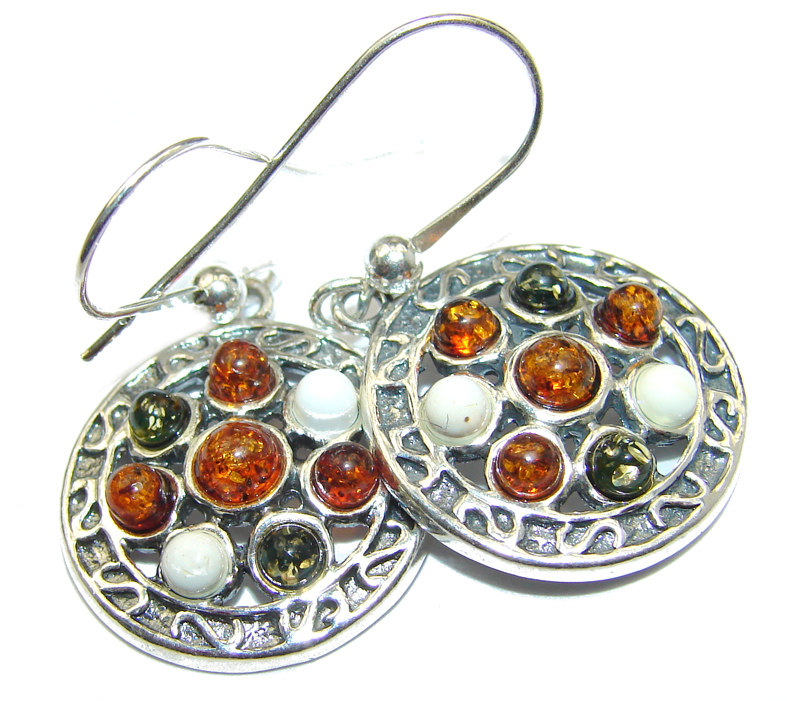 Genuine  Baltic Amber  .925 Sterling Silver handcrafted Earrings