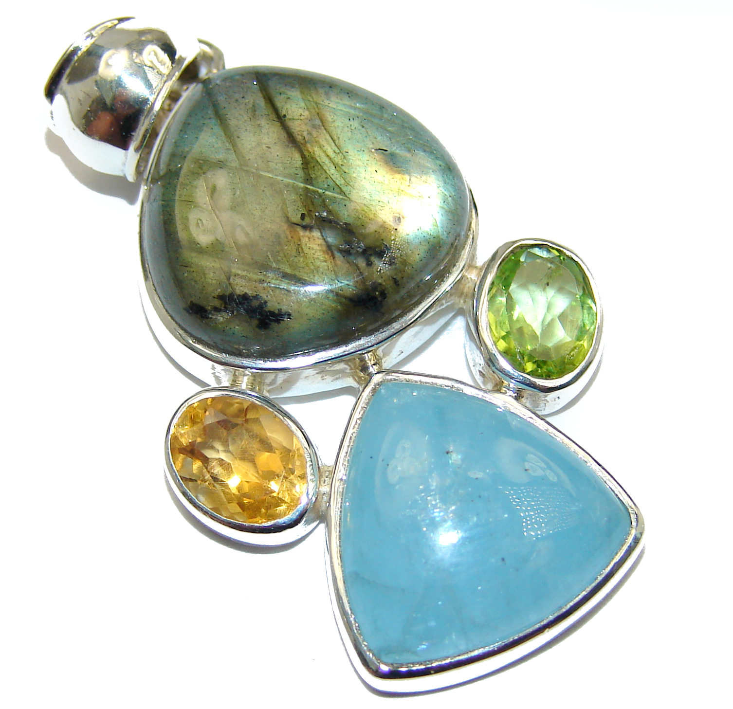 Perfect Quality Fire Labradorite .925 Sterling Silver handmade Pendant