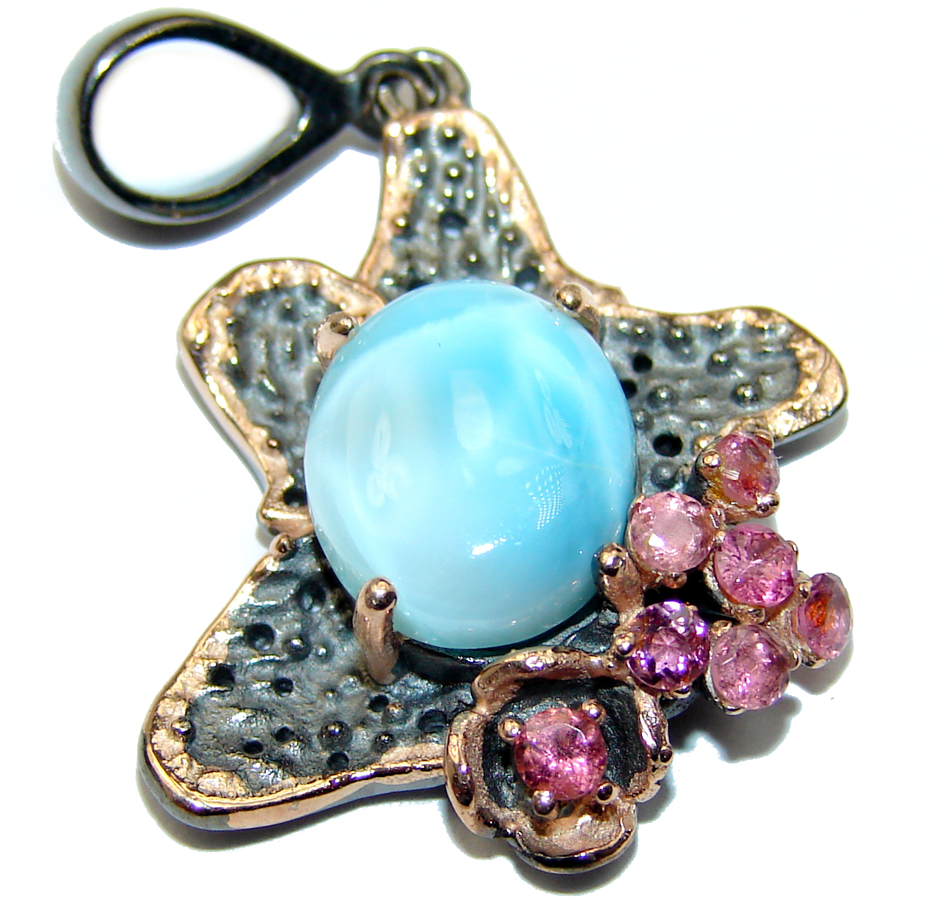 Natural Larimar Ruby .925 Sterling Silver handmade Pendant