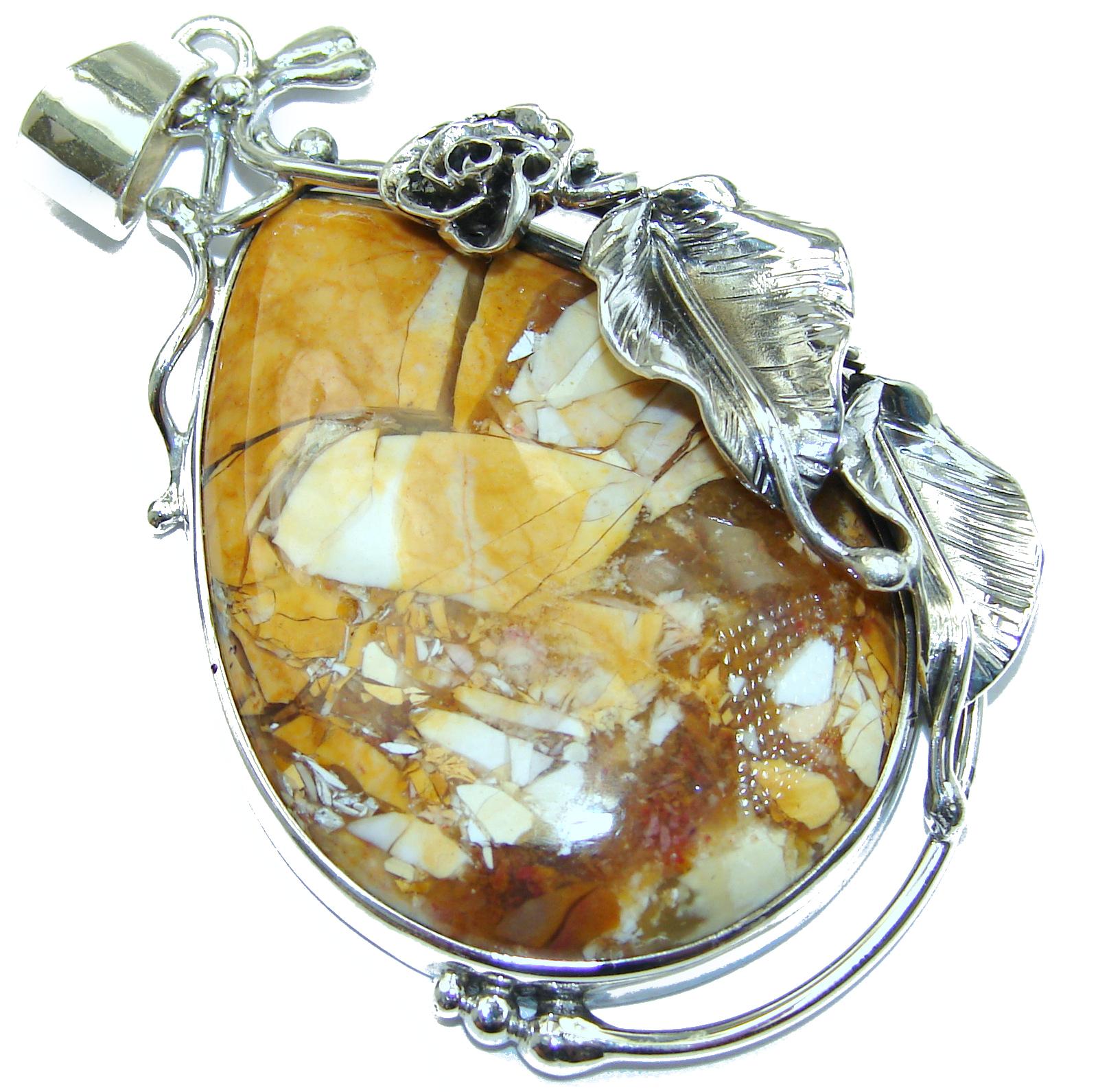 Australian Bracciated Mookaite Jasper .925 Sterling Silver handcrafted pendant