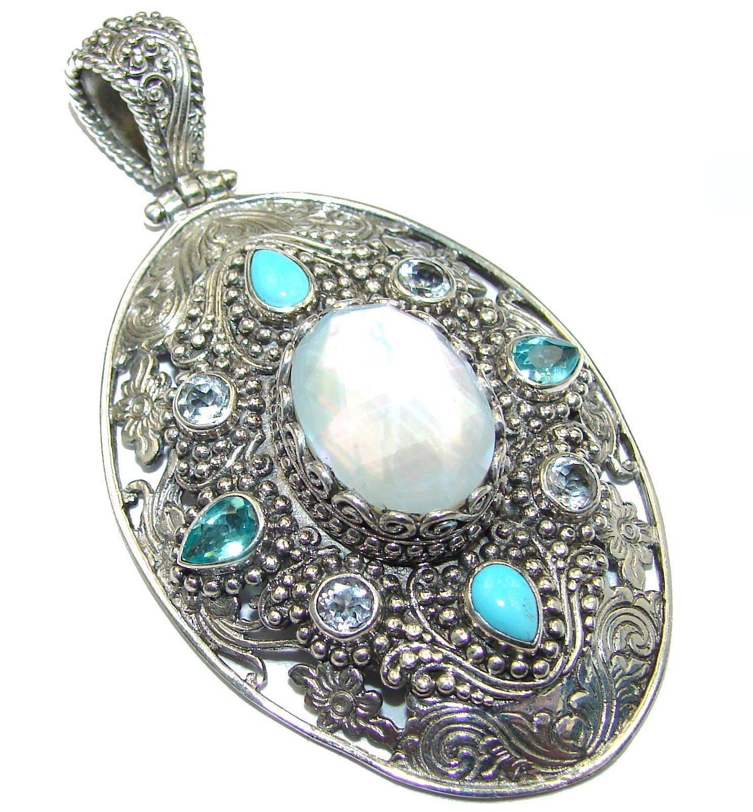 Vintage Design White Mother of Pearl Apatite .925 Sterling Silver handcrafted pendant