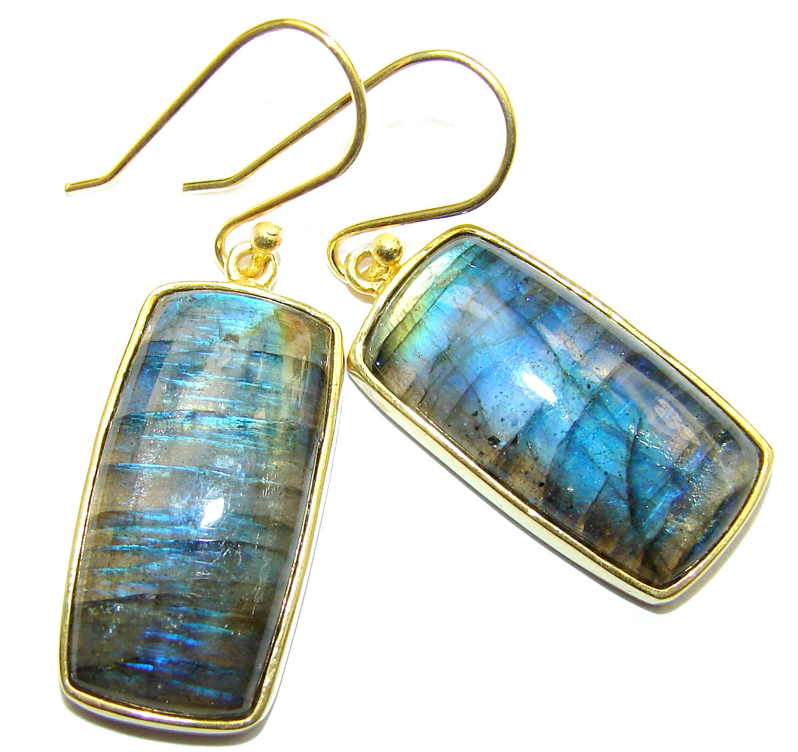 Perfect Labradorite 14K Gold over .925 Sterling Silver handmade earrings