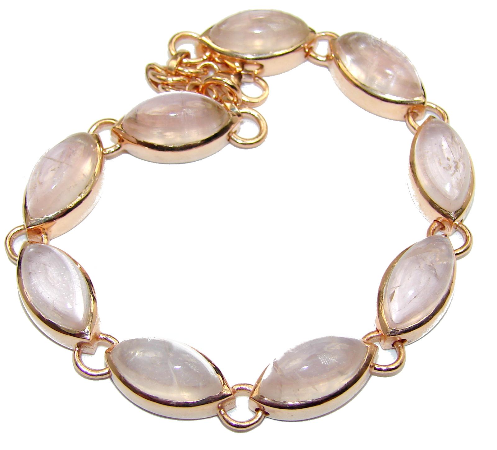 Natural Rose Quartz 14K Gold over .925 Sterling Silver handmade Bracelet
