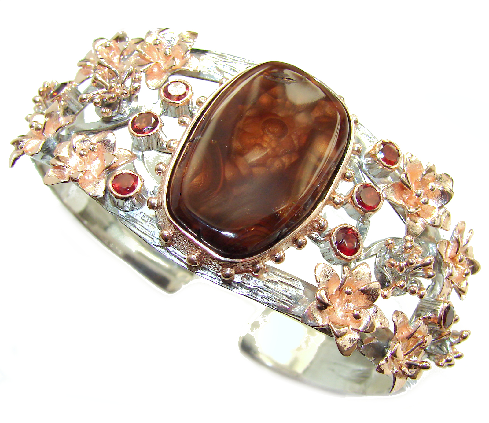 Bohemian Style Large & Beautiful Fire Agate Rose Gold Rhodium over .925 Sterling Silver Bracelet / Cuff