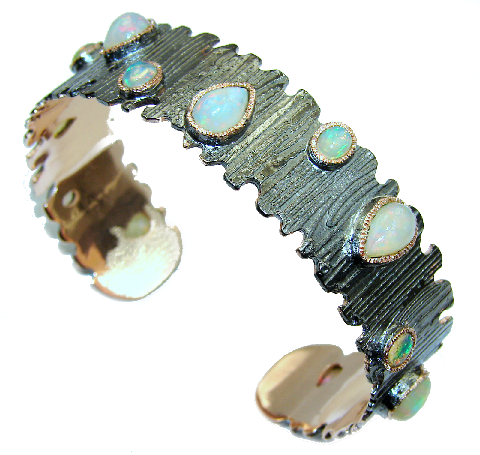 Sublime Ethiopian Opal 14K Gold Rhodium Gold over .925 Sterling Silver Bracelet / Cuff