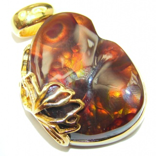 Best Quality Authentic Fire Agate 18K Gold over .925 Sterling Silver handmade Pendant