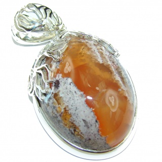 Perfect Mexican Opal .925 Sterling Silver handcrafted Pendant