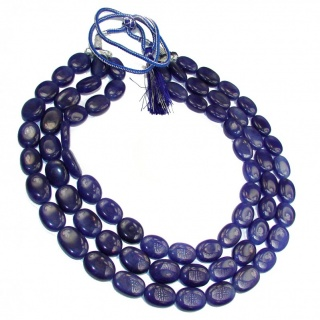 Breath Of Love Earth Mined Rich Blue Sapphire 3 strands 16-18 inches handcrafted necklace