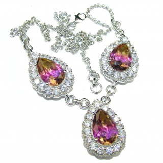 Pear cut Ametrine .925 Sterling Silver handcrafted necklace