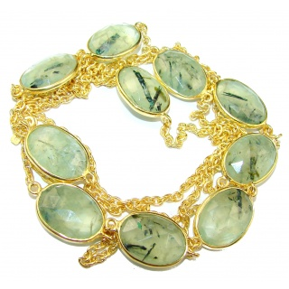 36 inches genuine Moss Prehnite 14K Gold over .925 Sterling Silver handmade station Necklace