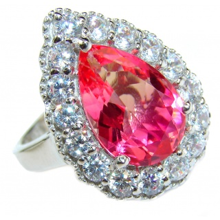 HUGE pear cut Volcanic Pink Tourmaline Topaz .925 Sterling Silver handcrafted Ring s. 8 1/4