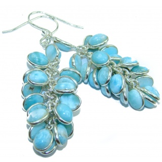Bold Precious genuine Blue Larimar .925 Sterling Silver handmade cha- cha earrings