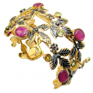 Big Dreamer Red Ruby 1K Gold over .925 Sterling Silver handcrafted Statement Bracelet / Cuff